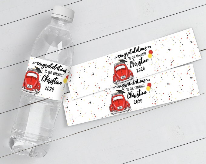 Drive By Graduation Water Bottle Wrap/Label Printable - Graduation Party | Self-Edit Text with CORJL - INSTANT Download Printable Template