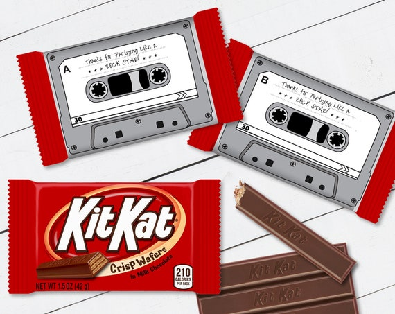 Cassette Tape Kit Kat Candy Bar Label/Wrapper - Retro Party Favor, 80's Party, Gray | Self-Edit with CORJL - INSTANT DOWNLOAD Printable