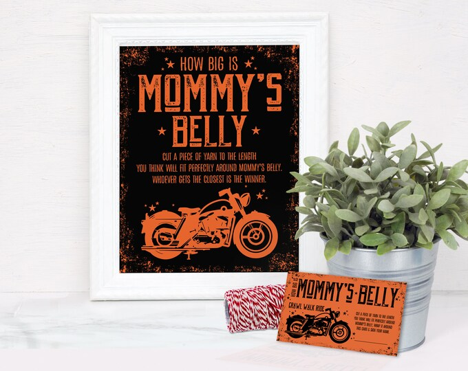 Motorcycle How Big Is Mommy's Belly Baby Shower Game - Sign & Cards, Born to Ride Shower | Self-Edit with CORJL - INSTANT DOWNLOAD Printable