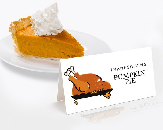Thanksgiving Turkey Dinner Food Labels, Pie Food Labels, Place Cards,Table Tent    Self-Editing with CORJL - INSTANT DOWNLOAD Printable