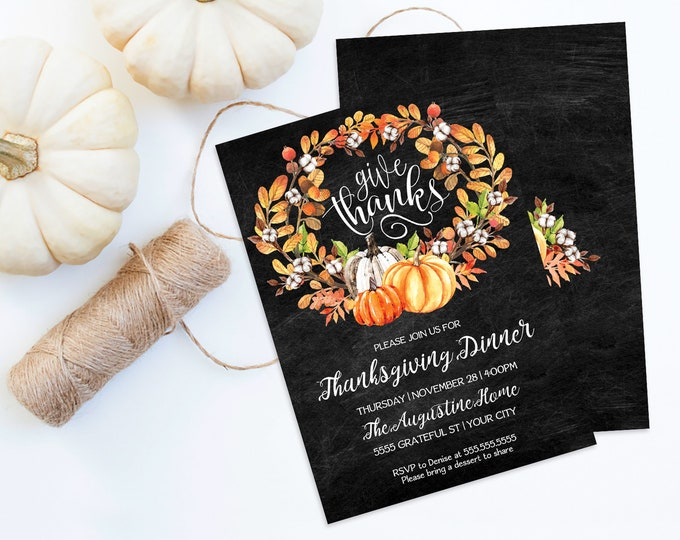 Give Thanks Thanksgiving Dinner Invitation, Pumpkin Invite, Friendgiving |  Self-Editing with CORJL - INSTANT DOWNLOAD Printable