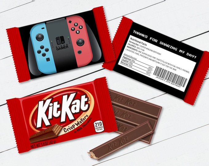 Kit Kat Candy Bar Label/Wrapper - Switch Controller, Video Game Party Favor, Nintendo | Self-Edit with CORJL - INSTANT Download Printable
