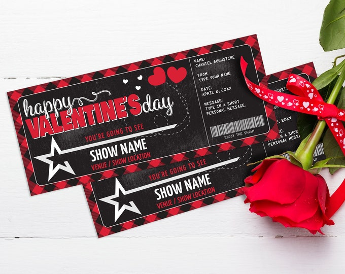 Printable Concert Ticket Valentine's Day Gift - Gift Voucher,Certificate,Surprise,Concert/Show | Edit with CORJL- INSTANT DOWNLOAD Printable