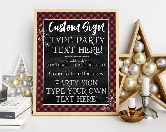 Buffalo Plaid 8x10 Party Sign - Customize Yourself, Hot Chocolate, Plaid, Flannel Sign | Self-Edit with CORJL - INSTANT DOWNLOAD Printable