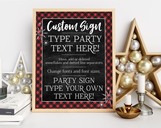 Buffalo Plaid 8x10 Party Sign - Customize Yourself, Hot Chocolate, Plaid, Flannel Sign   Self-Edit with CORJL - INSTANT DOWNLOAD Printable