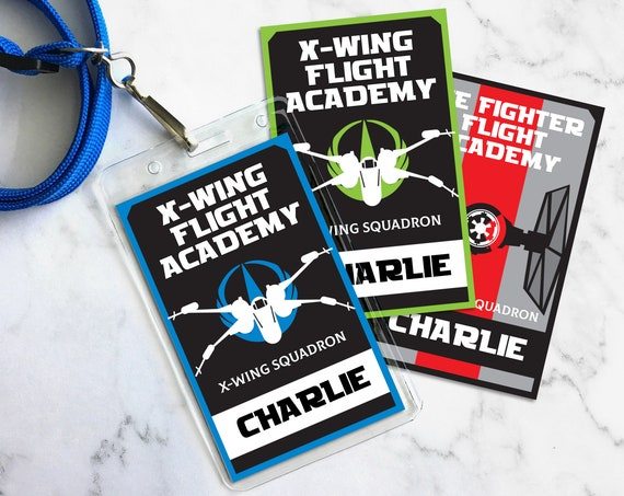 Star Wars X-Wing Flight Academy Badges - Rebellion Badges, Star Wars Party - Blue   Self-Editing with CORJL - INSTANT Download Printable