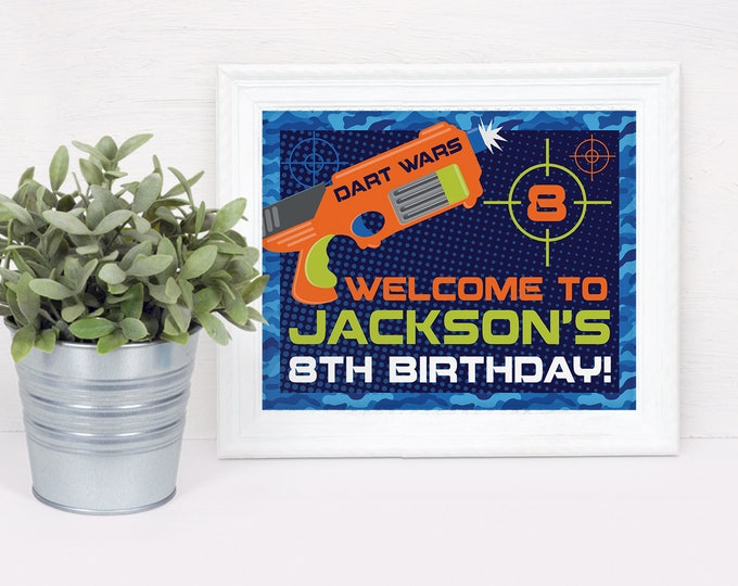 """Dart Wars Welcome Party 10""""x8"""" Sign, Dart Battle, Dart Gun, Target Party Sign 