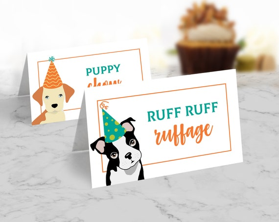 Dog Party Food Labels - Doggie Birthday, Doggy, Puppy, First Birthday, Table Tents | Self-Editing with CORJL - INSTANT Download Printable
