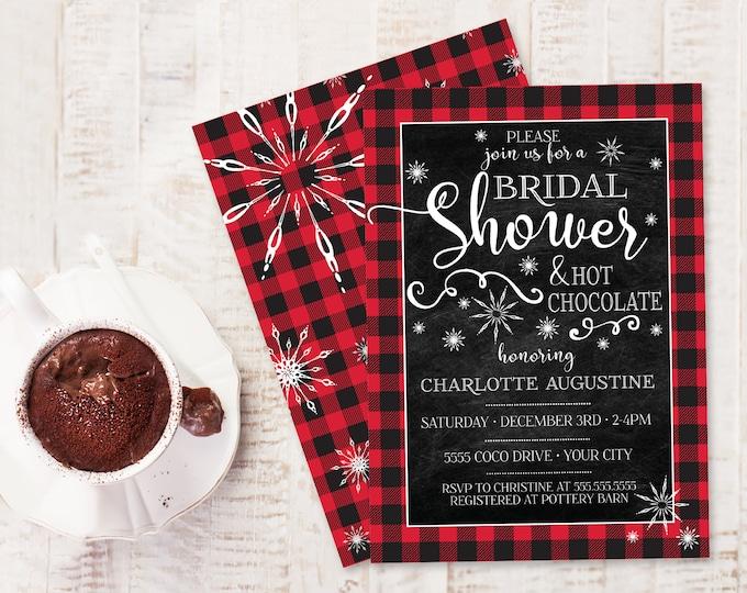 Bridal Shower Buffalo Plaid Invite - Lumberjack Bridal Shower, Winter Wedding Shower  | Self-Edit with CORJL - INSTANT DOWNLOAD Printable