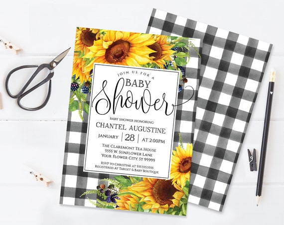 Sunflower Baby Shower Invitation, Boho, Watercolor, Greenery, Baby Shower | Self-Editing with CORJL - INSTANT DOWNLOAD Printable