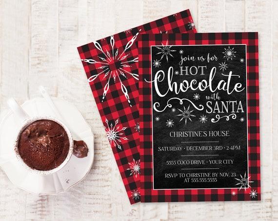 Hot Chocolate With Santa Invitation - Hot Chocolate, Buffalo Plaid, Hot Cocoa Bar | Self-Edit with CORJL - INSTANT DOWNLOAD Printable