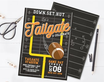 Tailgate Football Party Invitation - Football Invitation, Game Day Invite   Self-Edit with CORJL - INSTANT DOWNLOAD Printable Template