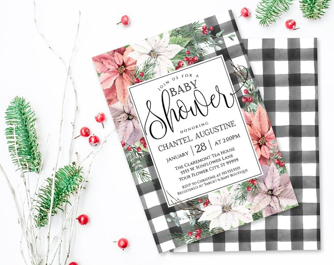 Poinsettia & Plaid Baby Shower Invitation, Watercolor, Greenery, Baby Shower| Self-Editing with CORJL - INSTANT DOWNLOAD Printable