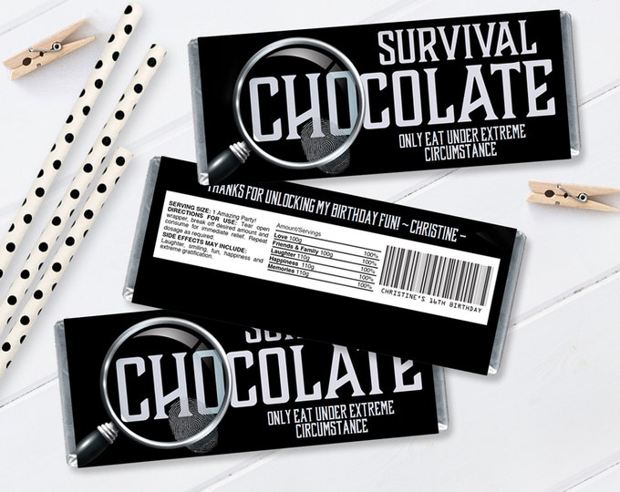 Escape Room Candy Bar Label/Wrapper, Mystery Party, Candy Party Favor Label   Self-Editing with CORJL - INSTANT Download Printable