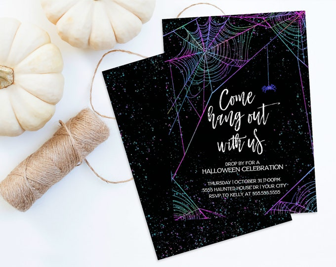 Come Hang Out With Us Halloween Party Invitation - Spider Invitation, Halloween Party | Self-Editing with CORJL - INSTANT DOWNLOAD Printable