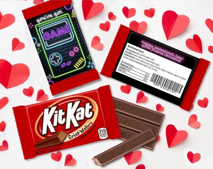 Valentine You've Got Game Neon Game Boy Kit Kat Candy Wrap/Label, Video Gamer Valentine   Self-Edit with CORJL - INSTANT DOWNLOAD Printable