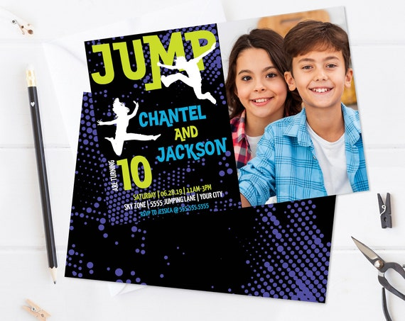 Jump Party Twins-Boy/Girl Photo Invite - Trampoline,Jump & Play,Bounce On Over | Self-Edit with CORJL - INSTANT DOWNLOAD Printable Template