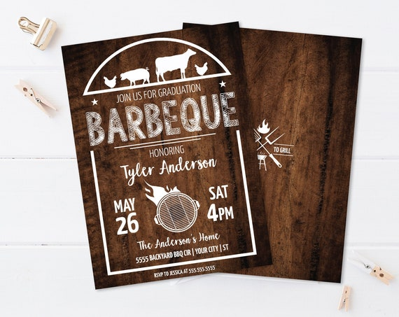BBQ Graduation Party Invitation - Barbecue Graduation Invite, Graduation BBQ | Self-Edit with CORJL - Instant Download Printable