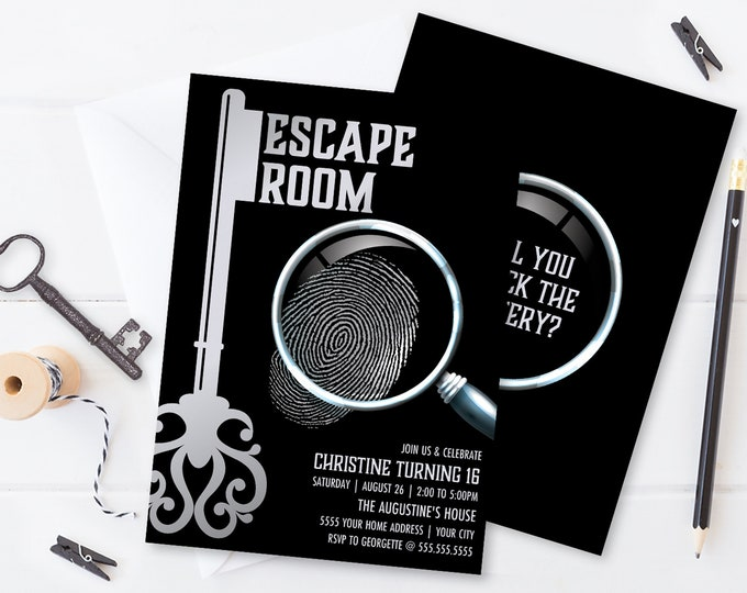 Escape Room Invitation, Escape Room Party,Mystery Party Invite | Self-Editing with CORJL - INSTANT DOWNLOAD Printable SEM100_8