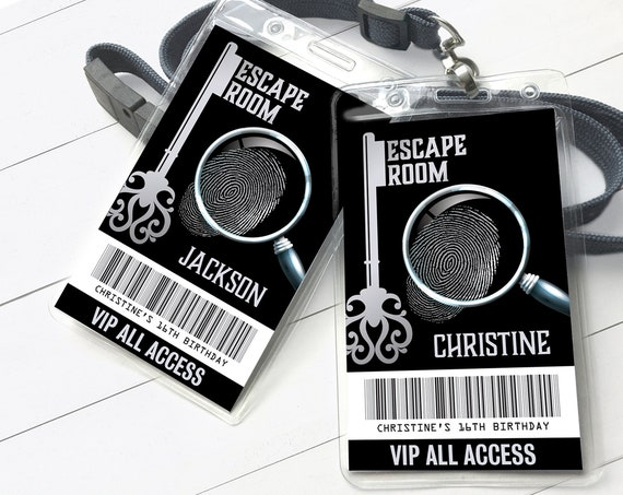 Escape Room VIP Badge, Escape Room Party, Escape Room Mystery ID Pass | Self-Edit with CORJL - Instant Download Printable Template SEM100_2