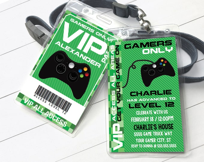 Video Gamer VIP I.D. Badge Invitation- 2-Sided Badge, Party Favor, Game Truck Invite | Self-Editing with CORJL - INSTANT Download Printable