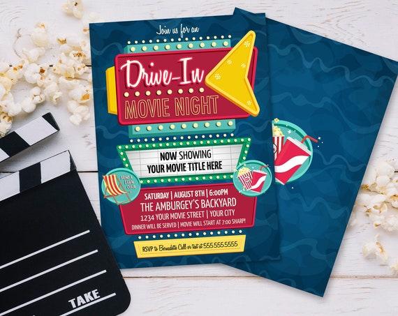 Drive-In Movie Night Invitation - Backyard Movie Night, Outdoor Movie, Retro Movie Night | Self-Edit with CORJL - INSTANT DOWNLOAD Printable