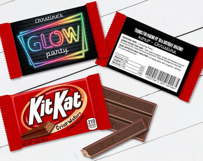 Neon Glow Party Kit Kat Candy Wrap/Label, Neon Glow Theme, Candy Bar Wrapper | Self-Edit with CORJL - INSTANT Download Printable