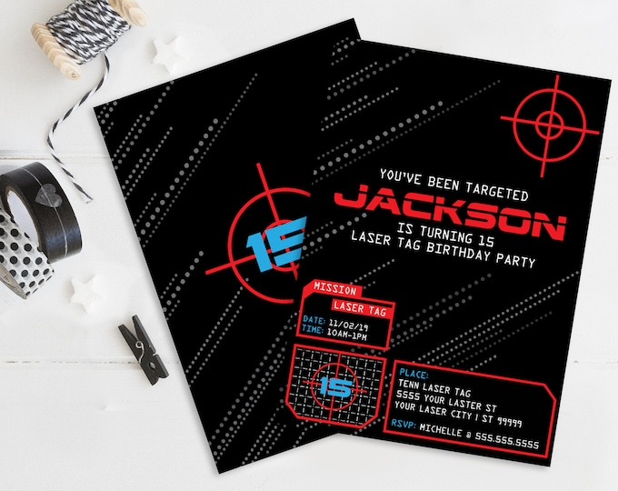 Laser Tag Invitation, Laser Tag Birthday, Digital Printable, Laser Tag Party Invite| Self-Editing with CORJL - INSTANT DOWNLOAD Printable