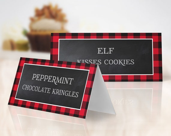 Buffalo Plaid Food Labels - Cookie Exchange , Lumberjack, Cookies & Cocoa, Hot Chocolate | Self-Edit with CORJL Instant DOWNLOAD Printable
