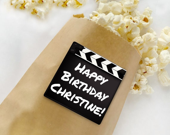 "Movie Party 2"" Square Sticker or Topper - Movie Clapper, Movie Night Birthday 