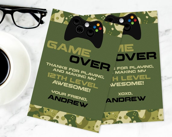 Video Game Party Thank You Card - Video Gamer Thank You, Birthday,Gamer Truck,Green Camo | Self-Edit with CORJL - INSTANT Download Printable