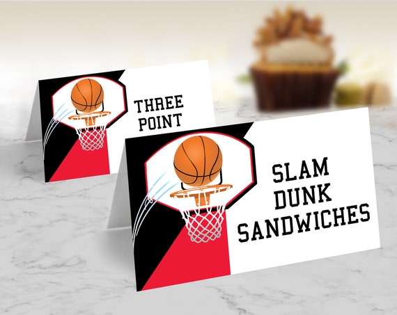 Basketball Food Labels - Basketball Birthday Party, Table Tent, Place Card | Self-Editing with CORJL - INSTANT DOWNLOAD Printable