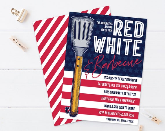 Editable Red White BBQ Party - 4th Of July Invitation - Barbecue Invite    Self-Edit with CORJL - INSTANT Download Printable