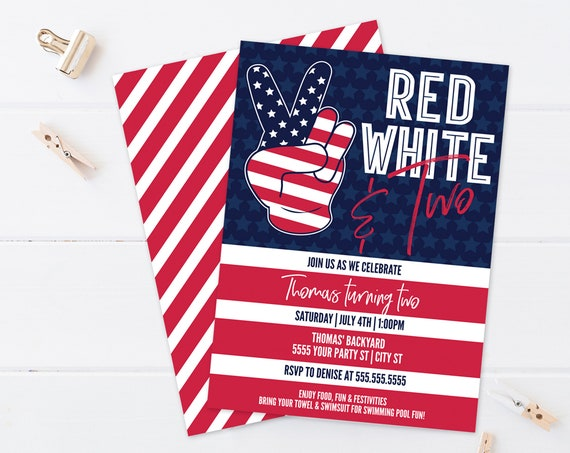 Editable Red White Two 4th Of July Birthday Invitation - Second Birthday Invite    Self-Edit with CORJL - INSTANT Download Printable