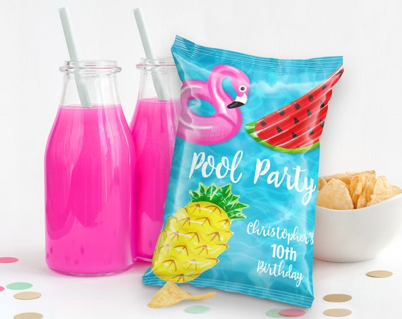 Pool Party Potato Chip Bag Wrap/Label/Template - Snacks Bag, Loot, Mini Chip Bag Favors | Self-Edit with CORJL - INSTANT Download Printable