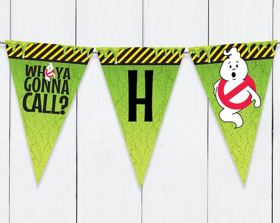 Ghost-busters Party Banner - Ghost-buster Birthday, Ghost-busters Party   Self-Edit Text DIY INSTANT Download Printable