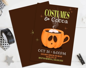 Costumes & Cocoa Party Invitation - Hot Chocolate, Pumpkin Invitation, Autumn Party   Self-Editing with CORJL - INSTANT DOWNLOAD Printable