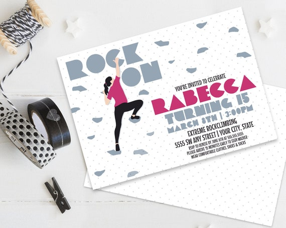 Rock Climbing Invitation Indoor Climbing,Rock Wall,Kids Rock Climbing Birthday | Self-Edit with CORJL - INSTANT DOWNLOAD Printable Template