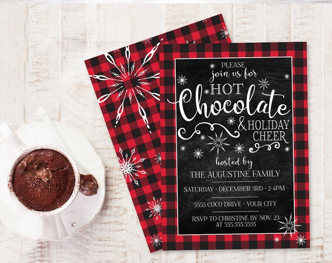 Hot Chocolate Party Invitation - Holiday Cheer, Hot Coco Bar Party, Winter Office Party| Self-Edit with CORJL - INSTANT DOWNLOAD Printable
