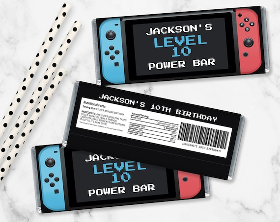 Video Game Controller Candy Bar Label/Wrapper - Video Game Favor, Gamer Party,Blue & Red | Self-Edit with CORJL - INSTANT Download Printable