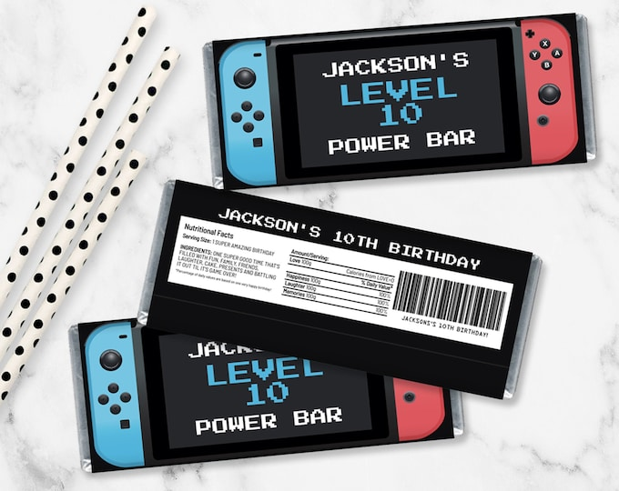 Switch Candy Bar Label/Wrapper - Video Game Favor, Nintendo Gamer Party Favor-Blue & Red   Self-Edit with CORJL - INSTANT Download Printable