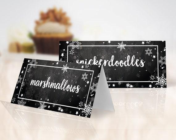 Snowflake Food Label,Cocoa & Cookies,Winter One-derland Party,Winter Wonderland,Chalkboard | Self-Edit with CORJL Instant DOWNLOAD Printable