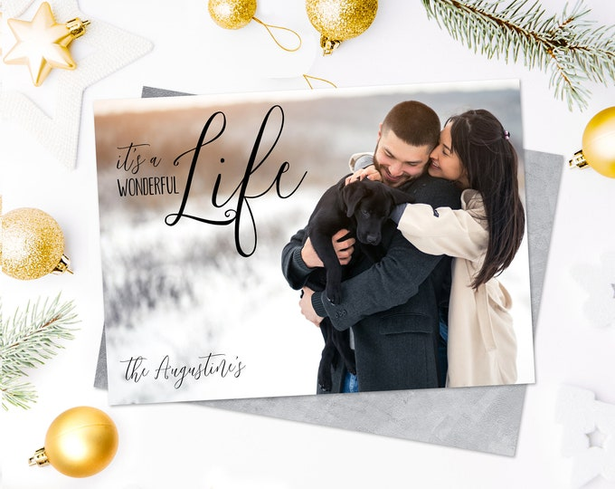 Christmas Photo Card - It's a Wonderful Life Christmas Card, Holiday Photo Greeting Card | Self-Edit with CORJL - INSTANT Download Printable