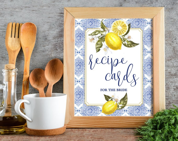 "Bridal Shower 8""x10"" Tuscan Lemon Recipe Card Sign - Lemon Shower, Blue Tile 