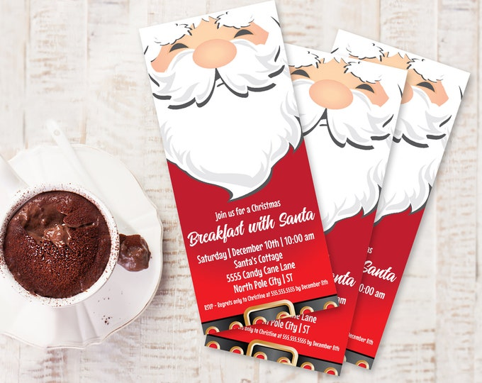 Santa Party Invitation, Breakfast with Santa, Santa & Pancakes, Christmas Party | Self-Edit with CORJL - INSTANT DOWNLOAD Printable