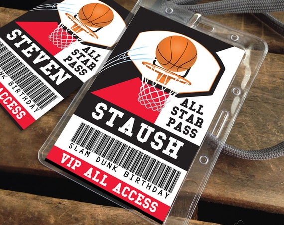 Basketball All Star ID Badge - Basketball Party, Basketball Birthday, All Star | Self-Edit Text with CORJL - INSTANT Download Printable