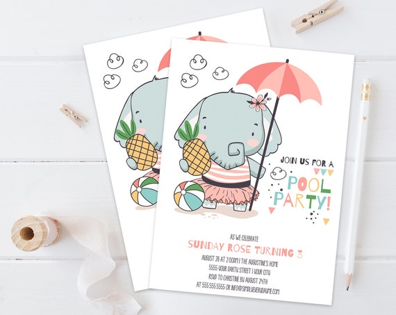 Pool Party Invitation with Elephant - Summer Birthday, Beach Party   Self-Edit with CORJL - INSTANT DOWNLOAD Printable Template