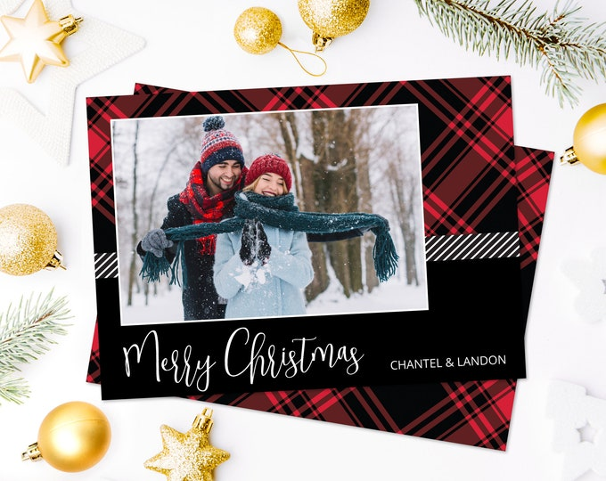 Christmas Photo Card - Merry Christmas Plaid Card, Holiday Photo Greeting Card | Self-Edit with CORJL - INSTANT Download Printable
