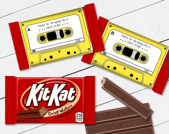 Cassette Tape Kit Kat Candy Bar Label/Wrapper - Retro Party Favor, 80's Party, Yellow | Self-Edit with CORJL - INSTANT DOWNLOAD Printable