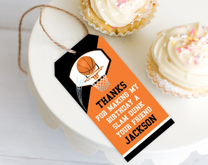 Basketball Favor Tag - Basketball Party, Basketball Birthday, Thank You Tag | Self-Editing with CORJL - INSTANT Download Printable